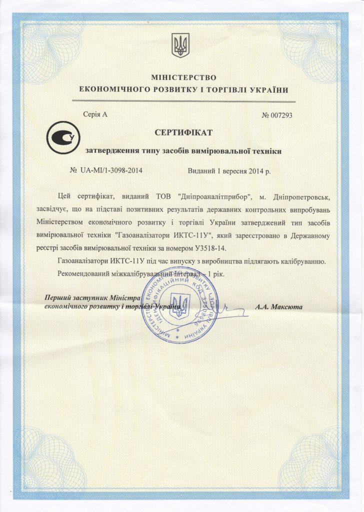 Сертификат утверждения типа СИТ на ИКТС-11У